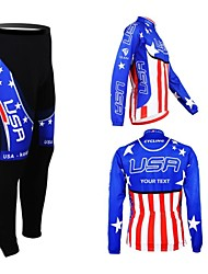 cheap -Customized Cycling Clothing Men's Women's Long Sleeve Cycling Jersey with Tights National Flag Bike Clothing Suit Thermal / Warm Fleece Lining Breathable Waterproof Zipper Reflective Strips Winter
