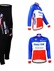 cheap -Customized Cycling Clothing Men's Women's Long Sleeve Cycling Jersey with Tights France National Flag Bike Clothing Suit Breathable Waterproof Zipper Reflective Strips Polyester / High Elasticity