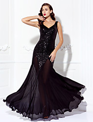 cheap -A-Line Beaded & Sequin Prom Formal Evening Dress V Neck Sleeveless Floor Length Chiffon Sequined with Sequin 2021