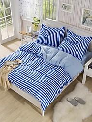 cheap -Stripe 4 Piece Polyester Polyester 1pc Duvet Cover 2pcs Shams 1pc Flat Sheet