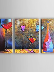 cheap -Oil Painting Hand Painted - Abstract Traditional Modern Stretched Canvas / Three Panels