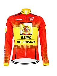 cheap -Customized Cycling Clothing Men's Women's Long Sleeve Cycling Jersey Spain National Flag Bike Jersey Thermal / Warm Fleece Lining Breathable Waterproof Zipper Reflective Strips Winter Polyester