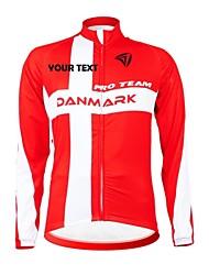 cheap -Customized Cycling Clothing Men's Women's Long Sleeve Cycling Jersey Denmark National Flag Bike Jersey Breathable Waterproof Zipper Reflective Strips Polyester / High Elasticity / Mountain Bike MTB