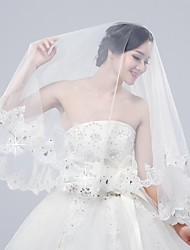 cheap -Two-tier Lace Applique Edge Wedding Veil Elbow Veils with Beading / Appliques 15.75 in (40cm) Tulle