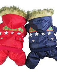 cheap -Cat Dog Coat Winter Dog Clothes Red Blue Costume Cotton Police / Military S M L XL