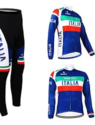cheap -Customized Cycling Clothing Men's Women's Long Sleeve Cycling Jersey with Tights Italy National Flag Bike Clothing Suit Thermal / Warm Fleece Lining Breathable Waterproof Zipper Reflective Strips