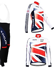 cheap -Customized Cycling Clothing Men's Women's Long Sleeve Cycling Jersey with Bib Tights British National Flag Bike Clothing Suit Breathable Waterproof Zipper Reflective Strips Polyester