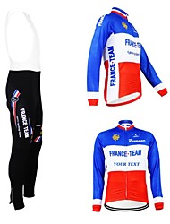 cheap -Customized Cycling Clothing Men's Women's Long Sleeve Cycling Jersey with Bib Tights France National Flag Bike Jersey Bib Tights Clothing Suit Breathable Waterproof Zipper Reflective Strips Polyester