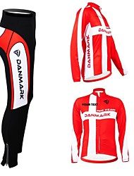 cheap -Customized Cycling Clothing Men's Women's Long Sleeve Cycling Jersey with Tights Denmark National Flag Bike Clothing Suit Breathable Waterproof Zipper Reflective Strips Polyester / High Elasticity