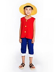 cheap -Inspired by One Piece Monkey D. Luffy Anime Cosplay Costumes Cosplay Suits Sleeveless Vest / Pants For