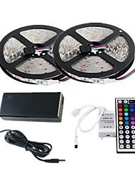 Недорогие -ZDM 2x5m Световые наборы 60 шт. / м 2835 RGB SMD 8 мм светодиодные с 44-клавишным ИК-контроллером 12 В 3a настольный источник питания мягкий свет полосы комплект