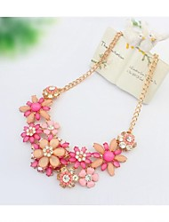 cheap -Women's Statement Necklace Flower Statement Ladies Floral Bohemian Resin Alloy Black Light Blue Fuchsia Necklace Jewelry For Wedding Party Special Occasion Birthday