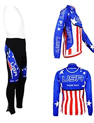 cheap -Customized Cycling Clothing Men's Women's Long Sleeve Cycling Jersey with Bib Tights National Flag Bike Clothing Suit Breathable Waterproof Zipper Reflective Strips Polyester / High Elasticity
