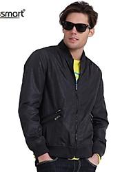 Недорогие -Муж. Повседневные / Спорт / Офис Классический и неустаревающий Куртка, Сплошной цвет Чистый цвет Темно-серый