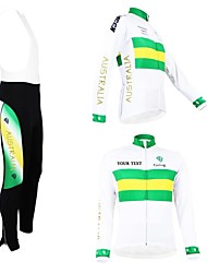 cheap -Customized Cycling Clothing Men's Women's Long Sleeve Cycling Jersey with Bib Tights Australia National Flag Bike Jersey Bib Tights Clothing Suit Thermal / Warm Fleece Lining Breathable Waterproof