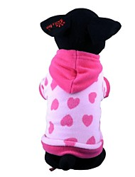 cheap -Dog Hoodie Pajamas Winter Dog Clothes Red Blue Costume Polar Fleece Cotton Heart Casual / Daily XS S M L