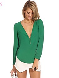 cheap -Women's Daily Blouse / Shirt - Solid Colored Green
