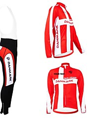 cheap -Customized Cycling Clothing Men's Women's Long Sleeve Cycling Jersey with Bib Tights Denmark National Flag Bike Jersey Clothing Suit Breathable Waterproof Zipper Reflective Strips Polyester