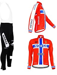 cheap -Customized Cycling Clothing Men's Women's Long Sleeve Cycling Jersey with Bib Tights Norway National Flag Bike Jersey Bib Tights Clothing Suit Breathable Waterproof Zipper Reflective Strips Polyester