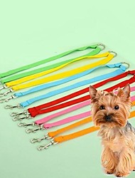 cheap -Cat Dog Leash Double Dog Leash Adjustable / Retractable Cosplay Nylon Black Yellow Red Blue Pink