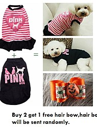 cheap -Cat Dog Dress Dog Clothes Casual/Daily Stripe Black Pink Costume For Pets