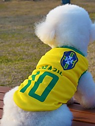 cheap -Cat / Dog Shirt / T-Shirt / Jersey Dog Clothes Yellow Cotton Costume For Pets Summer Cosplay / Wedding