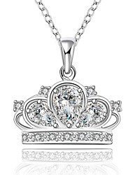 cheap -Women's Silver Cubic Zirconia Necklace Princess Sterling Silver Cubic Zirconia Rhinestone White Necklace Jewelry For Wedding Party Special Occasion Anniversary Birthday Engagement