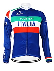 cheap -Customized Cycling Clothing Men's Women's Long Sleeve Cycling Jersey Italy National Flag Bike Jersey Thermal / Warm Fleece Lining Breathable Waterproof Zipper Reflective Strips Winter Fleece