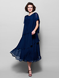 cheap -A-Line Cowl Neck Tea Length Chiffon Short Sleeve Elegant / Plus Size Mother of the Bride Dress with Ruffles 2020 / Split
