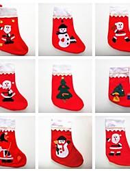 Недорогие -Рождество Санта-Клаус носки с различными цветовыми и украшения 6шт (случайный цвет)
