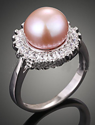 cheap -Women's Statement Ring Pearl Cream Dark Pink Pearl Imitation Pearl Zircon Ladies Luxury Fashion Wedding Party Jewelry / Cubic Zirconia / Cubic Zirconia / Alloy