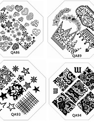 cheap -1pc new nail stamping image plate fashion lace flower heart plate for diy nail art decorations assorted pattern