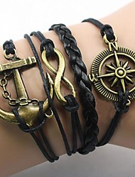 cheap -Men's Wrap Bracelet Anchor Infinity Ladies European Inspirational Fabric Bracelet Jewelry Gold / Black For Christmas Gifts Party Daily Casual Sports