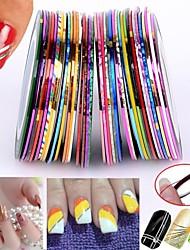 Недорогие -30pcs смешанные цвета закатывает чередование ленты линия Nail Art стикер украшения