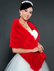 cheap -Sleeveless Shawls Faux Fur Wedding Wedding  Wraps / Fur Wraps With Feathers / Fur