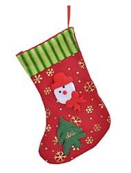 cheap -Snowman + Tree + Snowflakes Pattern Decorative Christmas Gift Sock - Red