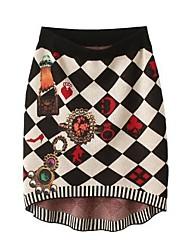 cheap -Women's Vintage/Print Skirts , Knitwear Micro-elastic Multi-color