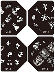 cheap -1 pcs Template Lovely nail art Manicure Pedicure Fruit / Flower / Abstract Daily / Cartoon / Metal