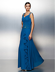 cheap -Sheath / Column Straps Floor Length Chiffon Dress with Beading Criss Cross by TS Couture®