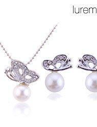 cheap -Women's Jewelry Set Stud Earrings Pendant Necklace Butterfly Animal Ladies Basic Elegant Bridal Pearl Earrings Jewelry Silver For Wedding Party Gift Daily