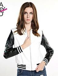 cheap -Women's Fall / Winter Regular Leather Jacket Long Sleeve PU Print Screen Color