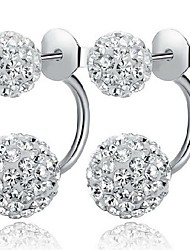 cheap -Women's Cubic Zirconia Stud Earrings Jacket Earrings Double Ball Ball Ladies Classic Simple Style Elegant Bling Bling everyday Sterling Silver Cubic Zirconia Imitation Diamond Earrings Jewelry White