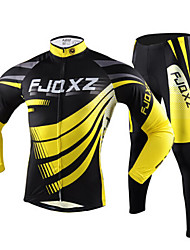 cheap -FJQXZ Men's Long Sleeve Cycling Jersey with Tights Yellow Stripes Bike Jersey Tights Clothing Suit Breathable Quick Dry Ultraviolet Resistant Winter Sports Polyester Mesh Stripes Mountain Bike MTB