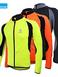 cheap -Arsuxeo Men's Long Sleeve Cycling Jacket Black Orange Green Patchwork Bike Jersey Top Mountain Bike MTB Road Bike Cycling Thermal / Warm Fleece Lining Breathable Sports Winter Fleece Clothing Apparel