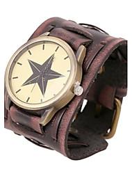 Недорогие -Unisex мода ретро широкий кожаный личность кожаный браслет часы