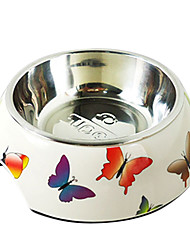 cheap -Butterfly Pattern Stainless Steel Food Bowl for Pets Dogs