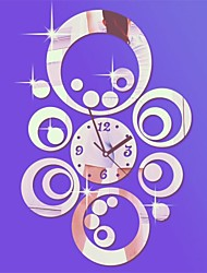 """Недорогие -20 """"ч современный стиль круглые круги 3d поделки акриловые зеркало настенные часы"""
