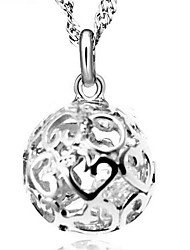 cheap -Women's Cubic Zirconia Pendant Necklace Ball Cheap Ladies Fashion Sterling Silver Cubic Zirconia Silver Silver Necklace Jewelry For Wedding Party Daily Casual