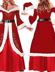 cheap -Santa Suit Cosplay Costume Party Costume Women's Christmas Halloween Festival / Holiday Polyester Women's Carnival Costumes Solid Colored / Gloves / T-Back