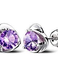 cheap -Women's Cubic Zirconia Amethyst Stud Earrings Heart Ladies bridesmaid Sterling Silver Cubic Zirconia Earrings Jewelry Purple For Wedding Party Daily Casual